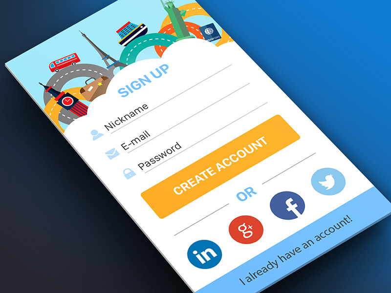 Colorful Sign Up Screen UI PSD