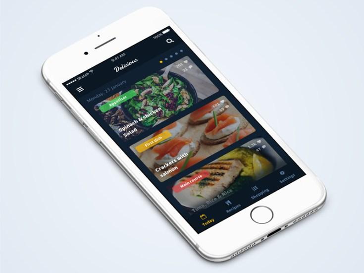Delicious Free Recipe App UI Template