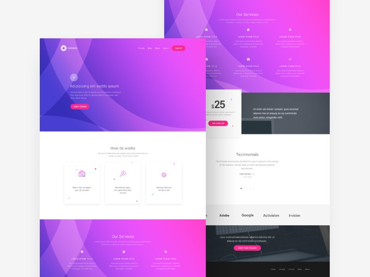Free Elegant Service PSD Web Template