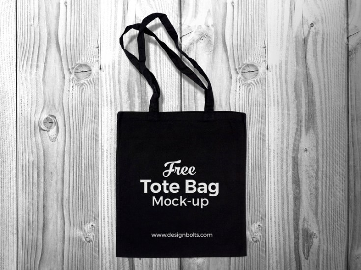 Free Black Tote Bag Mockup