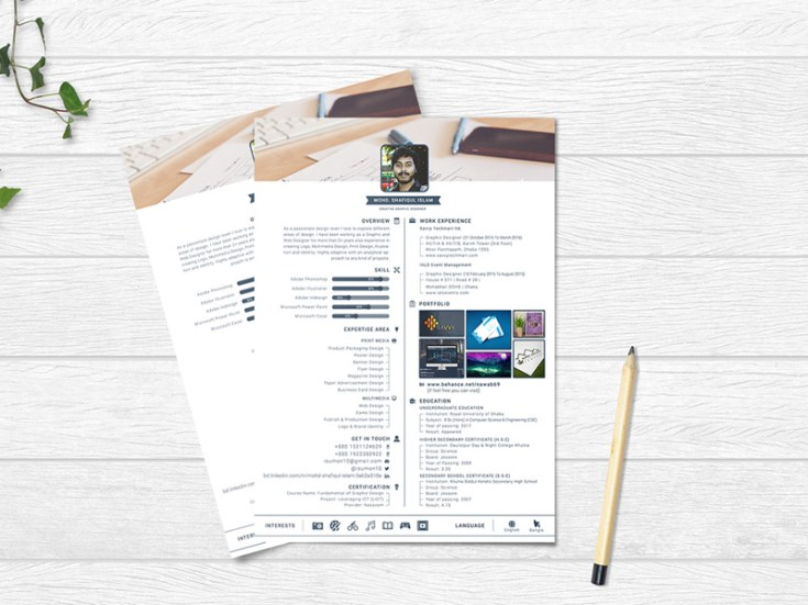 Free Profile Resume Template PSD