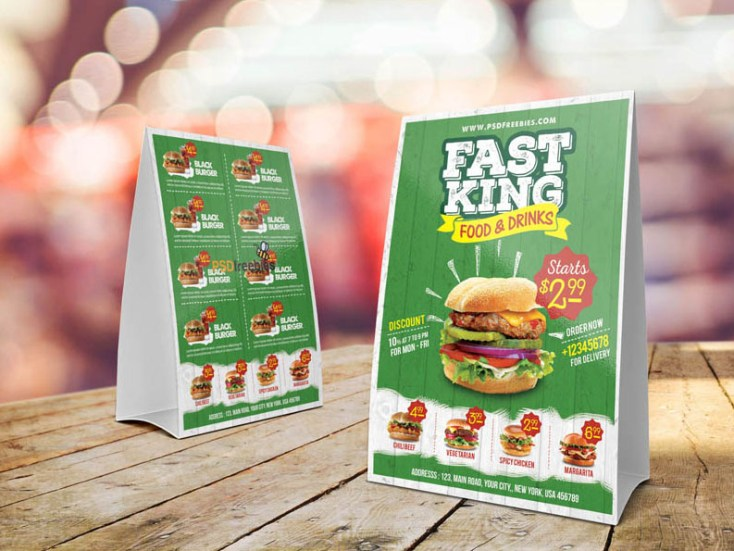 Fast Food Table Tent Menu Template - Free Download | Freebiesjedi