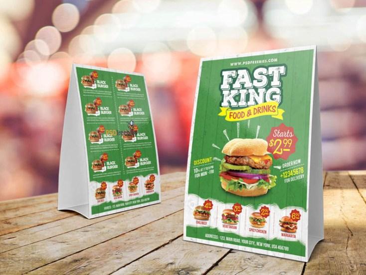 Free Fast Food Table Tent Menu Template