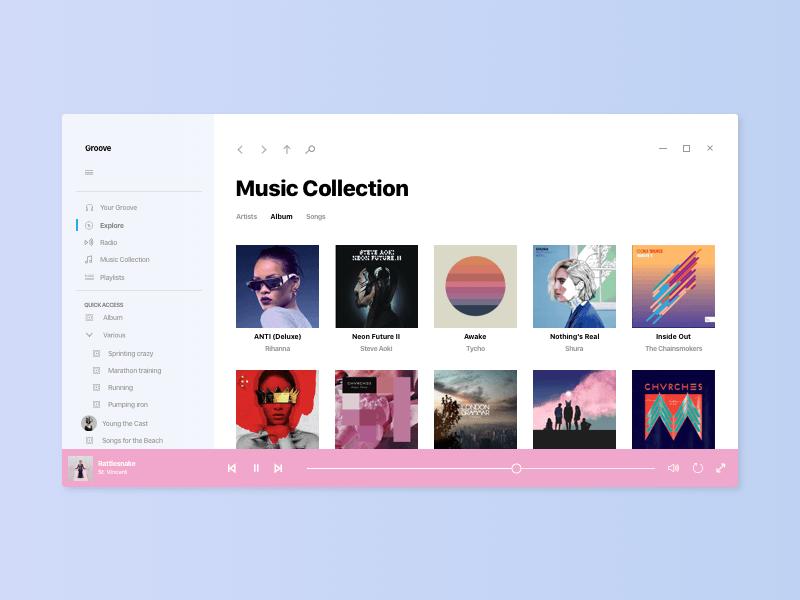 Windows 10 Acrylic Music App UI Sketch