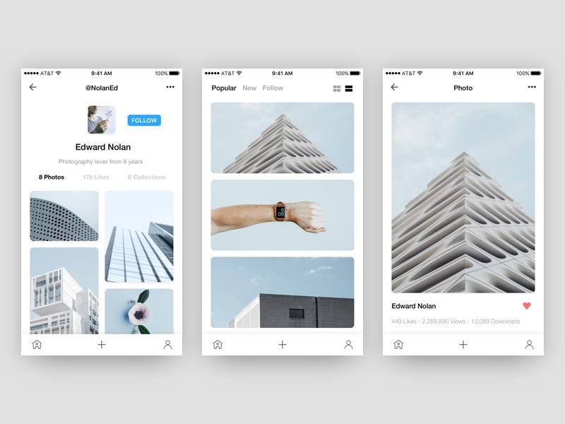 Photo App UI Concept Template