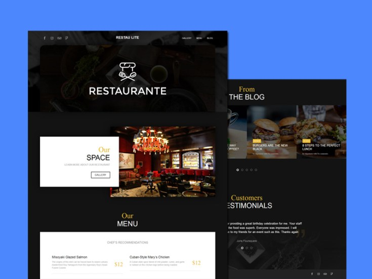 Restau Lite : Free Restaurant Wordpress Theme