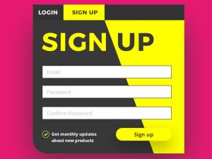 Sign Up Screen UI PSD