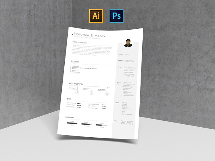 Simple Resume Template (AI and PSD)