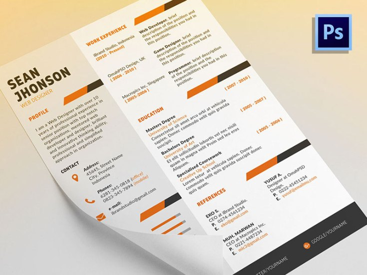 Ziper Free PSD Resume Template