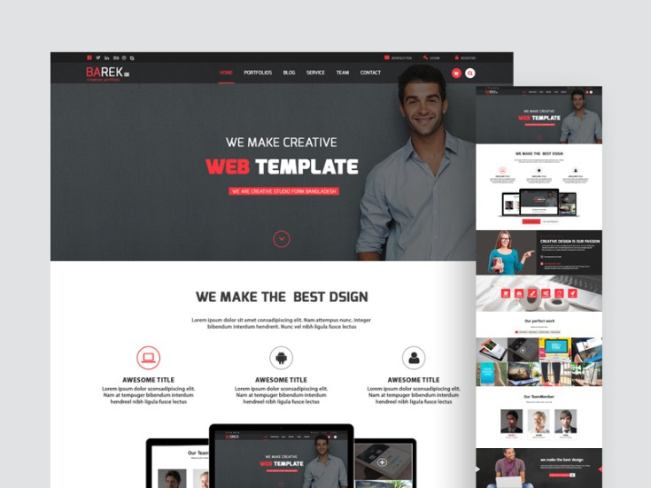 Barek Minimal Creative Website Template