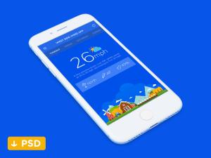 Flat Weather App UI Design