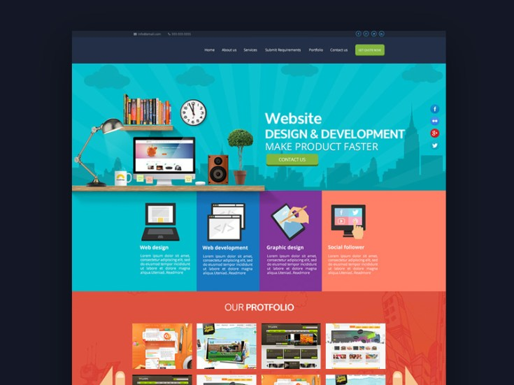 Flat Website Service PSD Template