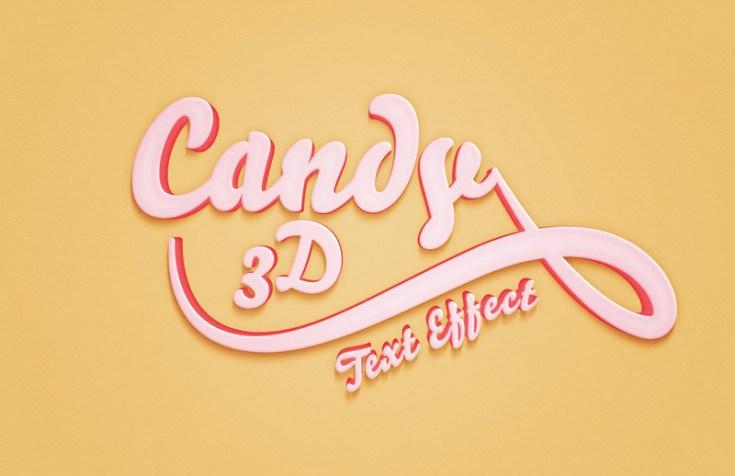 Free 3D Candy Text Effect PSD