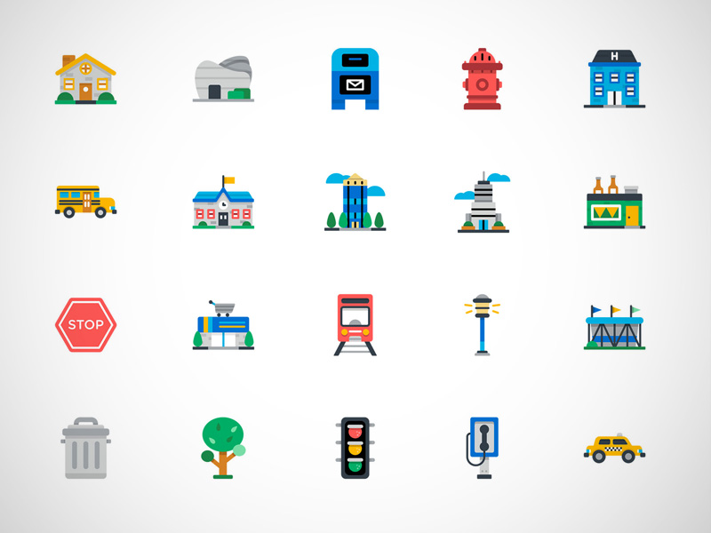 Free Colorful City Icons