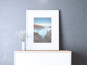 Free Poster Mockup in Realistic Interior