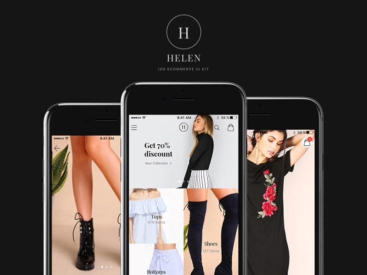 Helen Mobile Ecommerce UI Kit PSD
