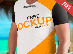 Free Man T-Shirt Mockup PSD