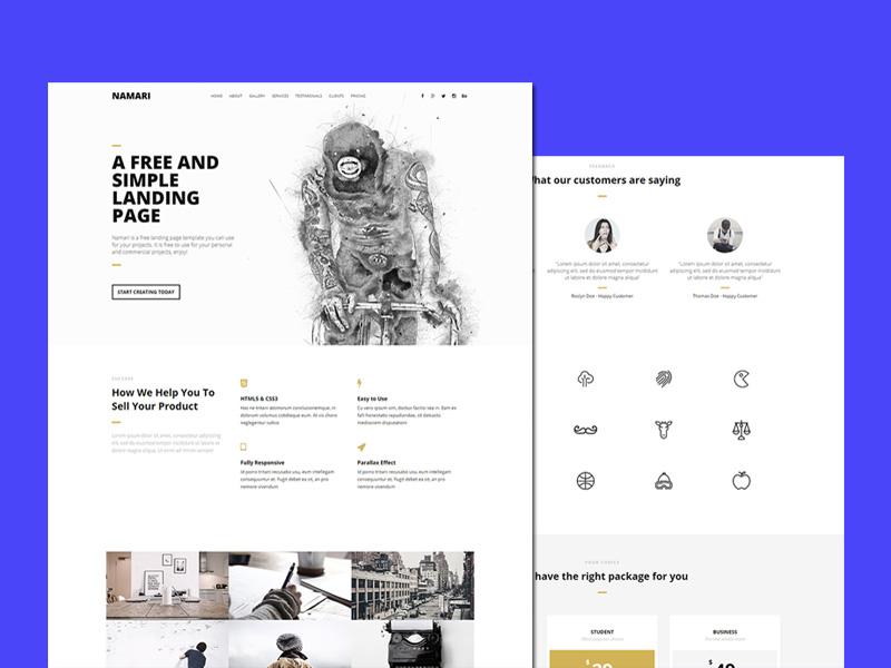 Namari : Clean Landing Page HTML5 Template