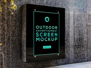 Free Wall Outdoor Advertising Mockup