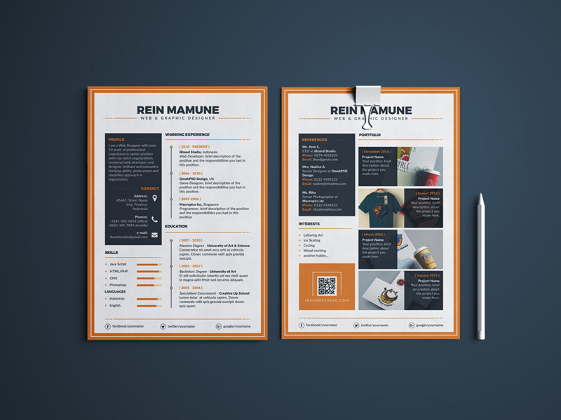 Minima – Free Resume Templates PSD