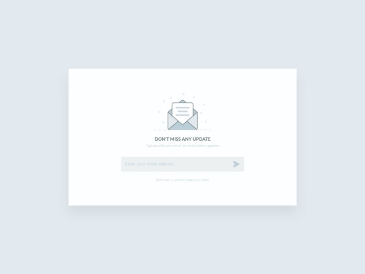 Simple Newsletter UI Design PSD