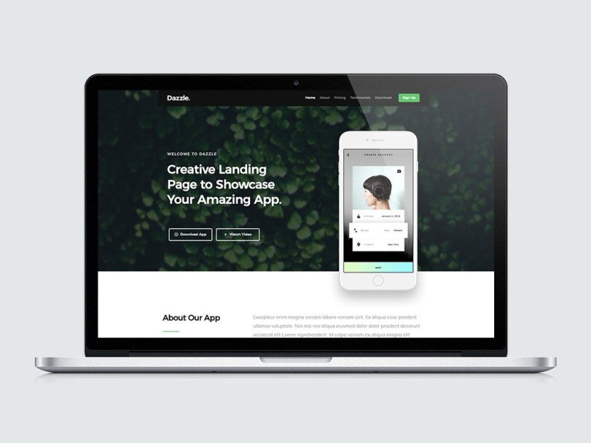 Dazzle – Free App Landing Page HTML Template
