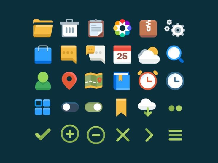 30 Free Flat UI Icons