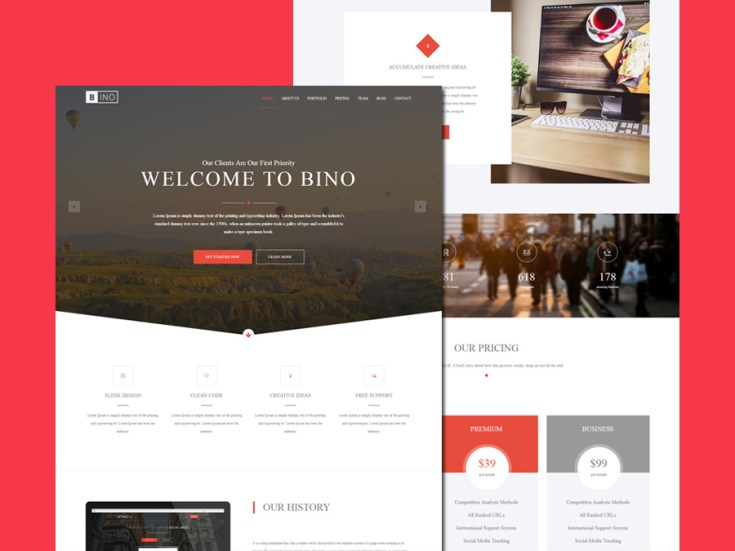 Bino : Free Bootstrap Landing Page Template