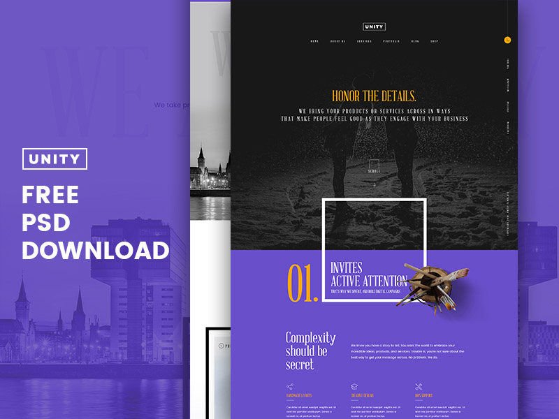 Honor – Free Business PSD Template