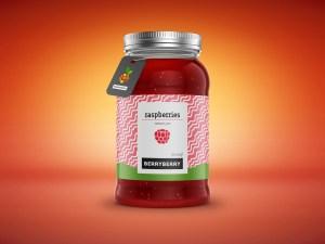 Free Jam Jar Bottle Mockup PSD