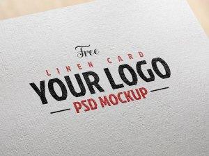 Free Linen Card Logo Mockup