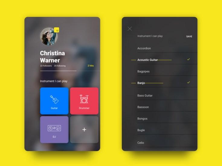 Free Musician Profile UI Screen