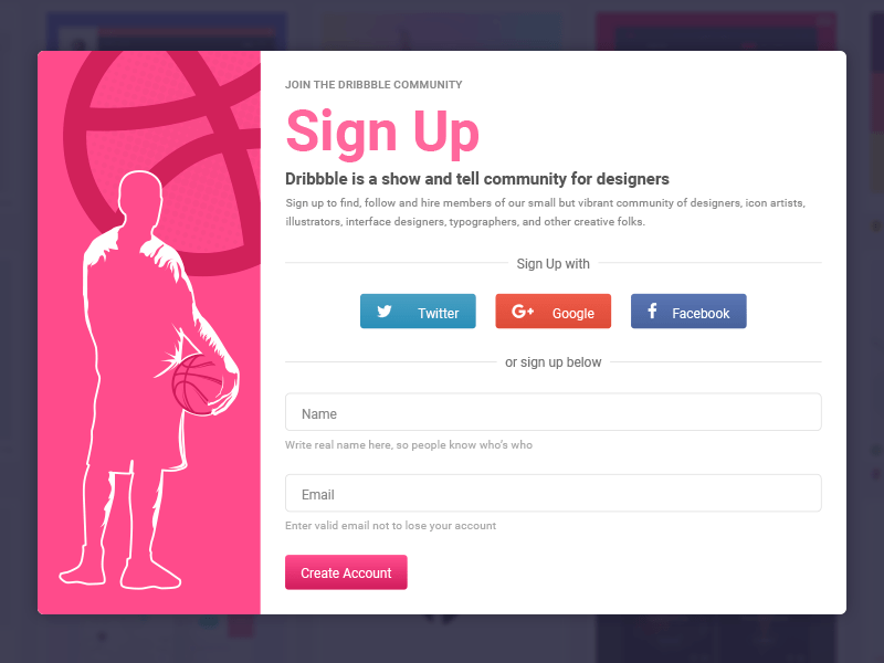 Social Sign-Up Form Template
