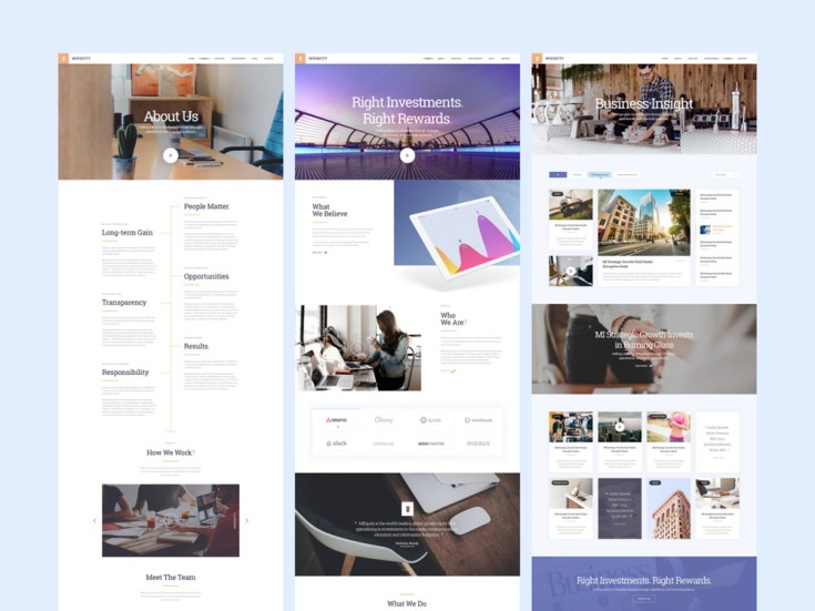 Miequity – Free Modern PSD Website Template