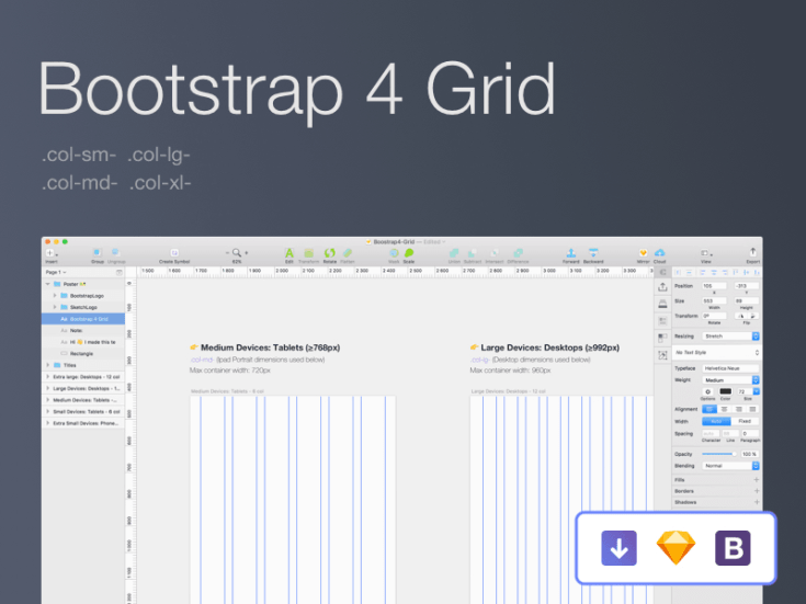 Bootstrap 4 grid for Sketch