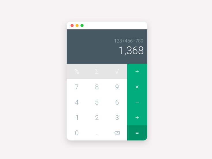 Flat Calcuator UI Design