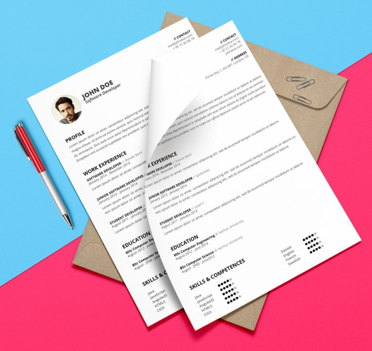 free attractive resume template psd and docx free