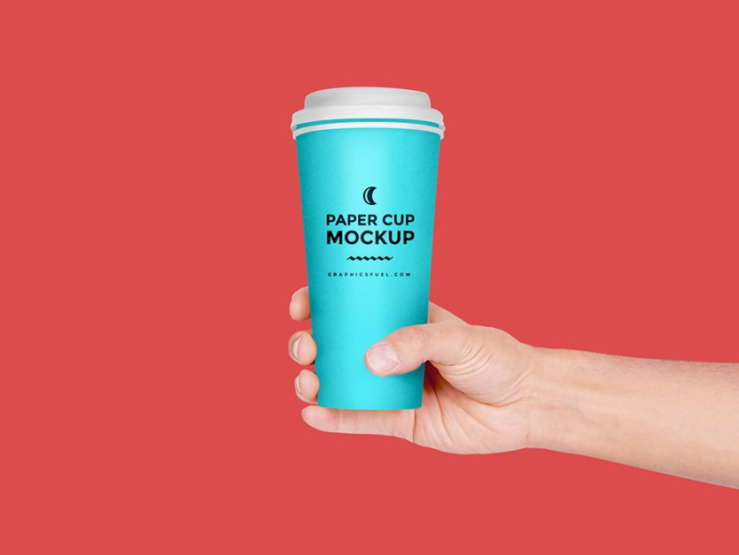 Free Paper Cup in Hand Mockup