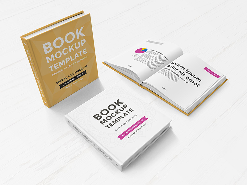 Realistic Hardcover Book PSD Mockup