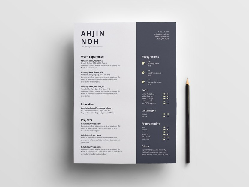Simple Illustrator CV Template
