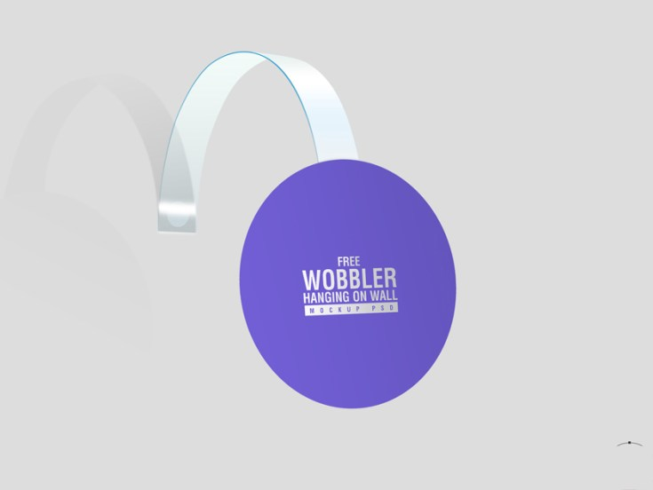 Wobbler Hanging on Wall Mockup