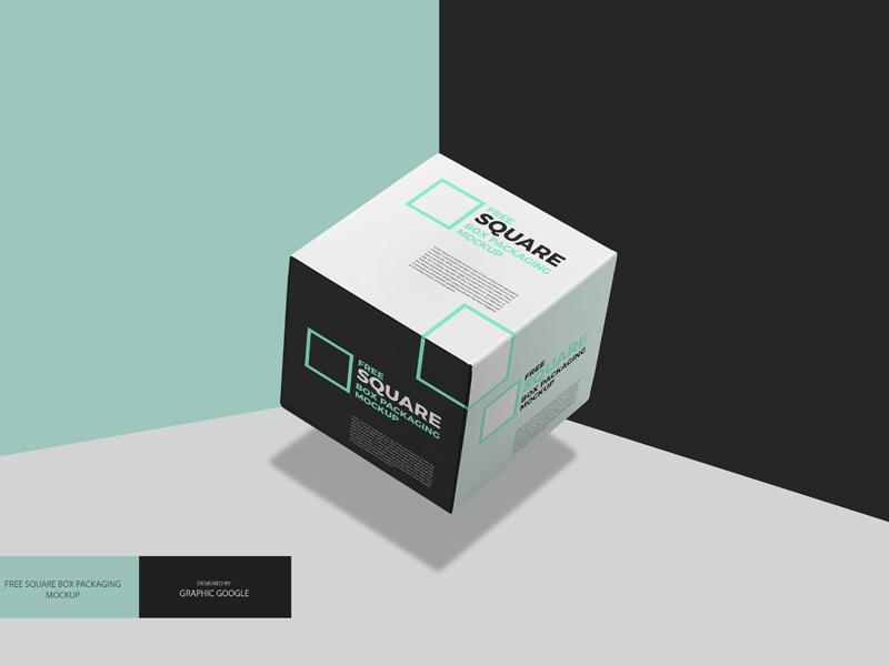 Free Square Box Mockup PSD