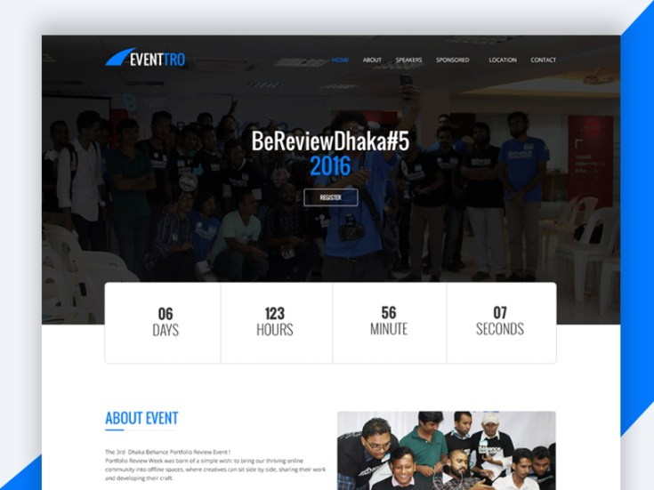 Eventtro - Free Event Landing Page HTML Template