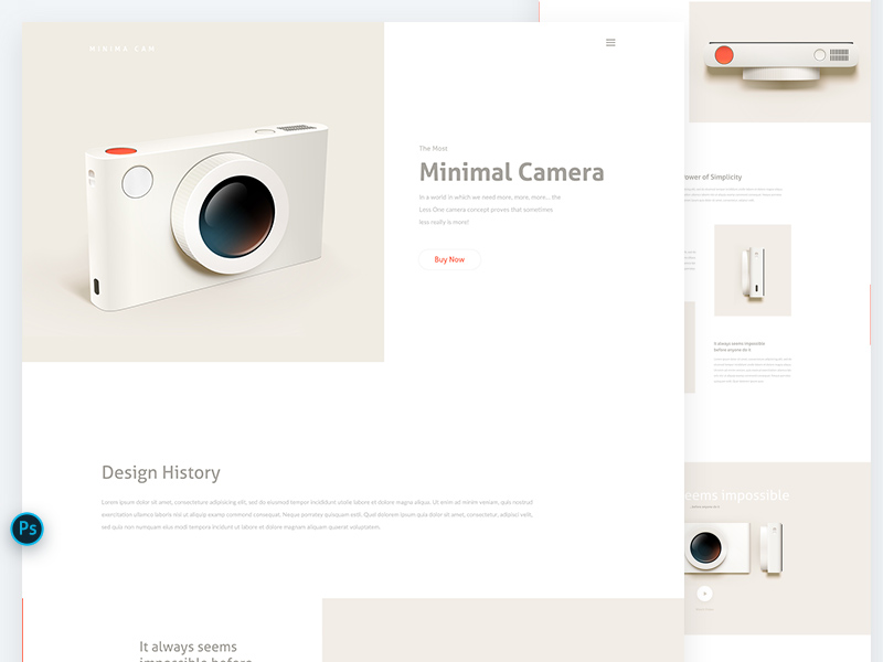 Camera Landing Page PSD Template