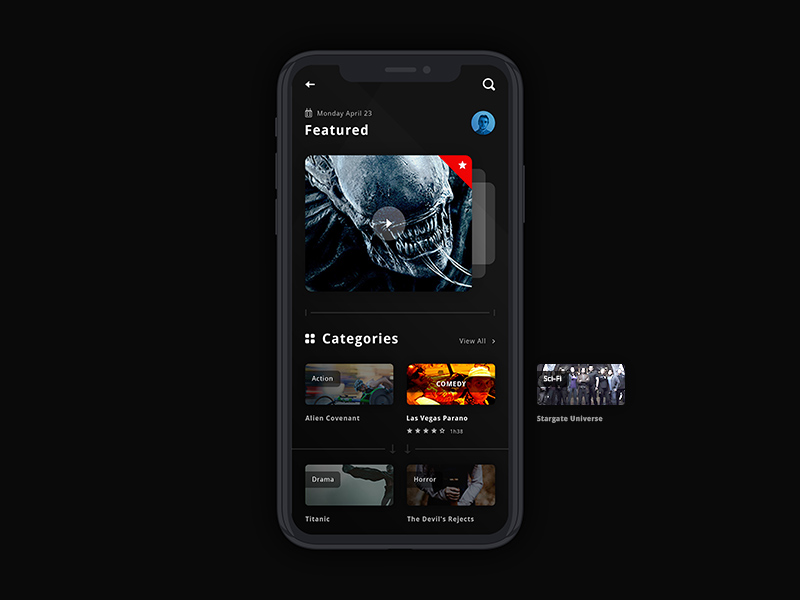 Dark Movie App UI