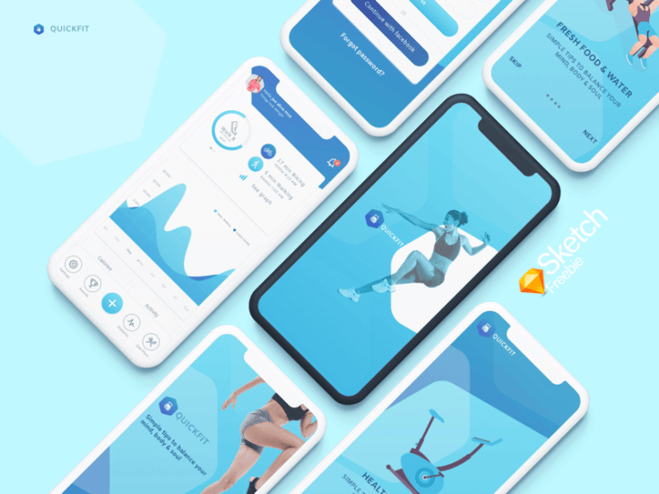 Free Fitness Tracker App UI Template