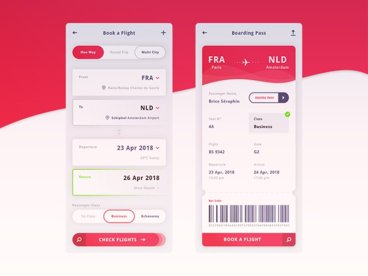 Flight Mobile UI Kit PSD
