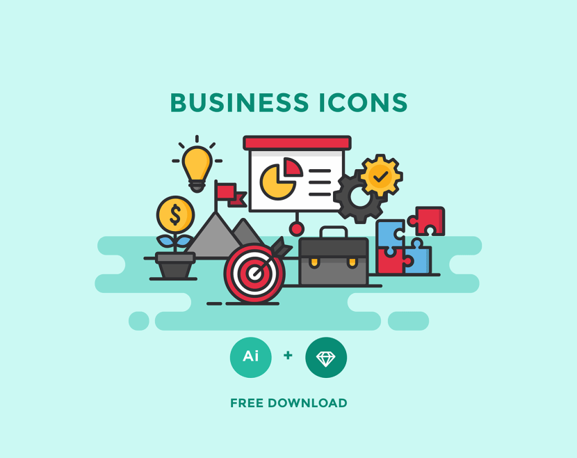 Free Business Icon Set (color, flat and line)