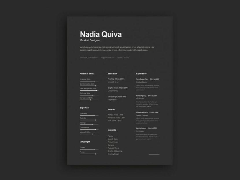 Free Elegant Dark Resume Template