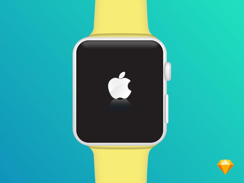 Free Flat Apple Watch Mockup PSD Template